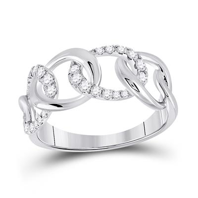 14K white gold curb chain diamond ring