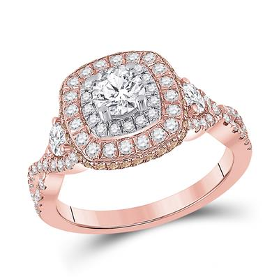 14k Rose Gold Halo Engagement Ring 1.30ctw Diamond