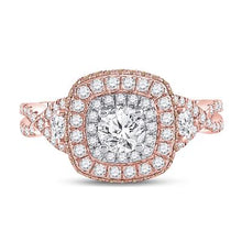 Load image into Gallery viewer, 14k Rose Gold Halo Infinity Engagement Ring 1.30ctw Diamond