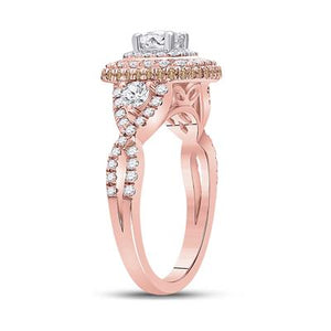 14k Rose Gold Halo Infinity Engagement Ring 1.30ctw Diamond