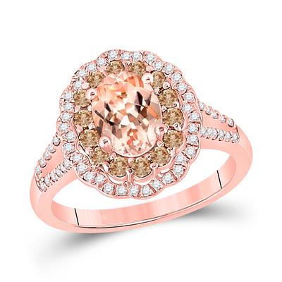14k Rose Gold Oval Morganite Ring 1 1/2ctw Certified