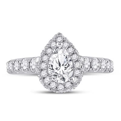 14k White Gold Pear Shape Engagement Ring 2.00ctw