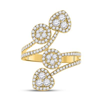 yellow gold heart cocktail diamond ring