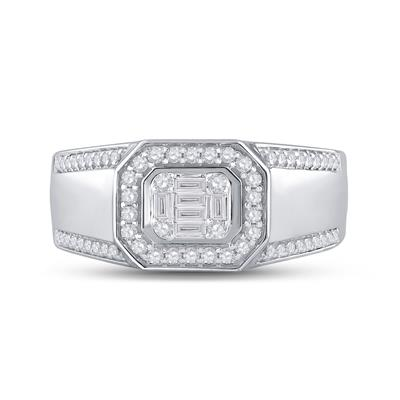 14K White Gold Baguette Diamond Band .50ctw