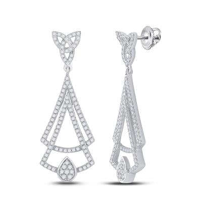14K White Gold Dangle Earrings .75 ctw Diamond
