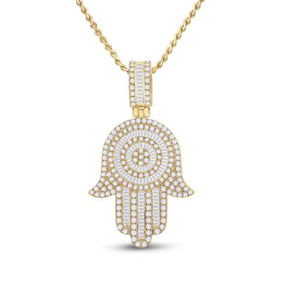 14k Yellow Gold Diamond Hamsa Hand 3.00 Ctw