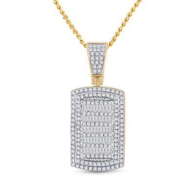 Yellow Gold  Baguette Diamond Dog Tag .75ctw
