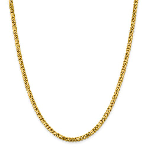 14k 4.25mm Solid Miami Cuban Chain 24""