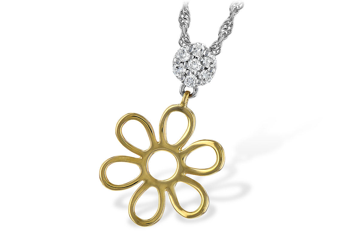 Allison Kaufman Flower 14K TT Diamond Pendant