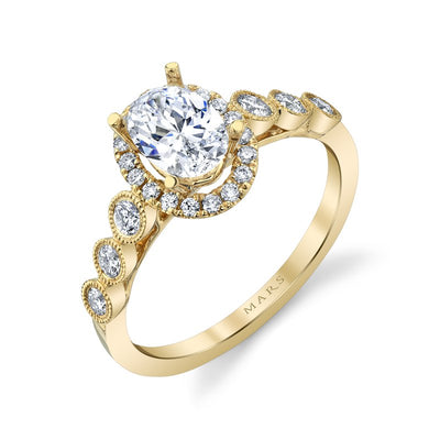 14K YELLOW GOLD OVAL HALO ENGAGEMENT RING 1.30CTW