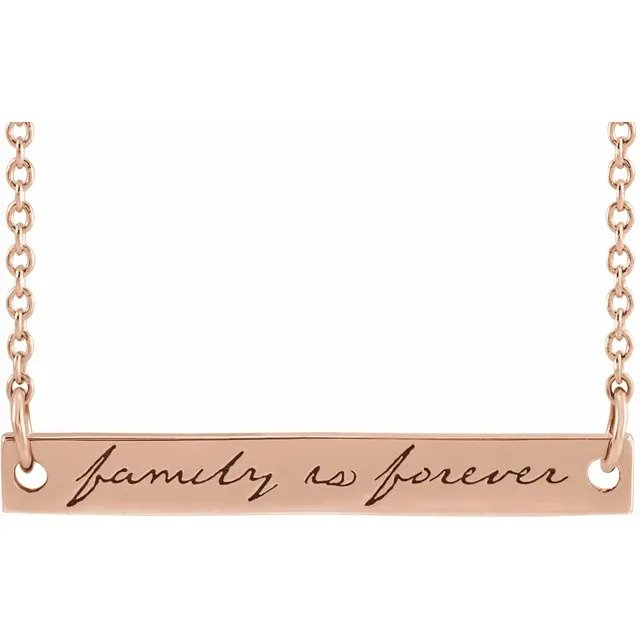 "14K Rose Gold Bar  ""family is forever"" Necklace"