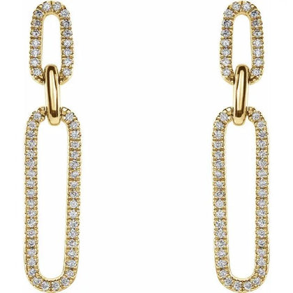 14K Yellow 1/3 CTW Diamond Link Earrings