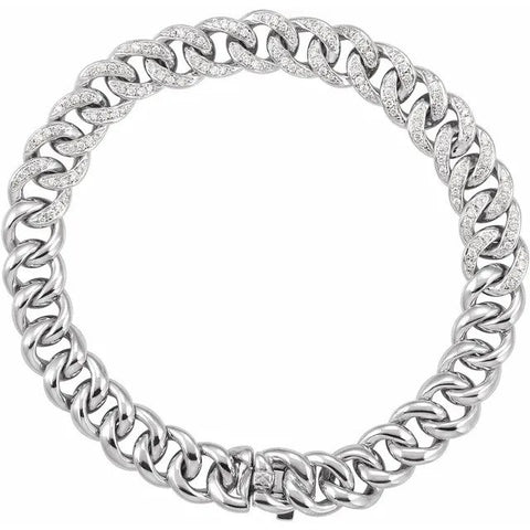 "14K White 3/4 CTW Diamond Curb 7"" Bracelet"