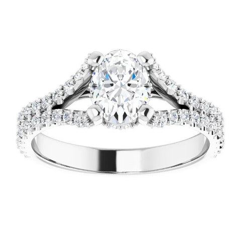 Oval Split Shank Engagement Ring