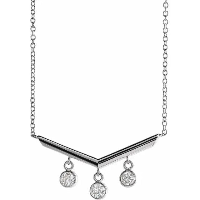 14k White Gold Diamond V Necklace 1/3ctw