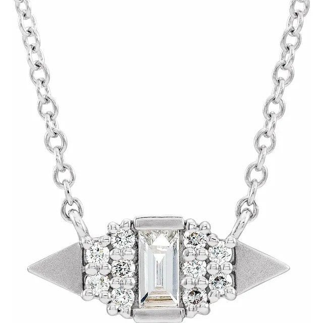 14k White gold Geometric Diamond Necklace