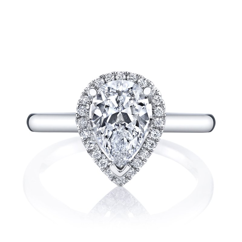 Pear Shape Halo Diamond Engagement Ring 1.61ctw