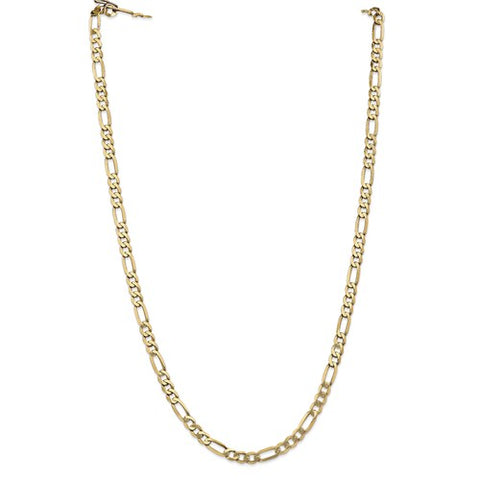14k 5.25mm Flat Figaro Chain Yellow Gold  18 inches