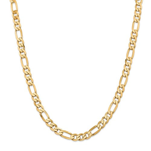 14k 7.5mm Flat Figaro Chain Yellow Gold
