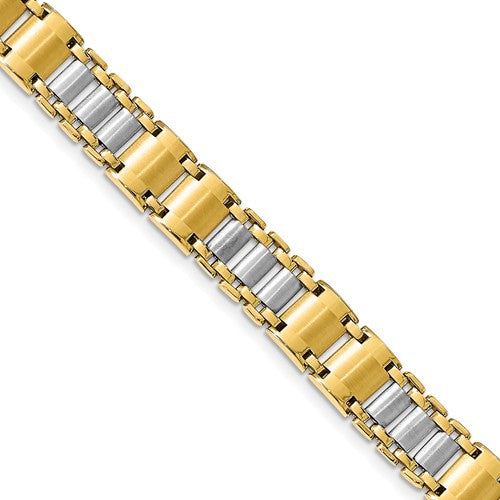 14k Two Tone Men's Fancy Link Bracelet