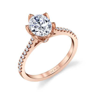 14k Rose Gold Oval Floral Engagement Ring