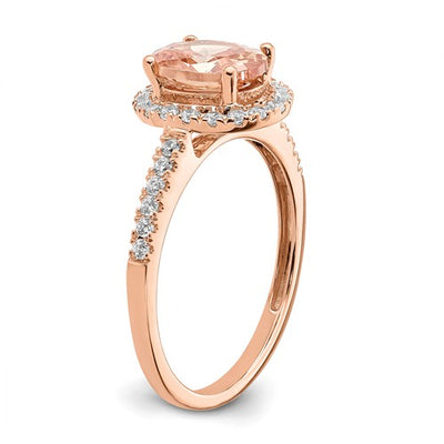 14k Rose Gold Oval Halo Engagement Ring