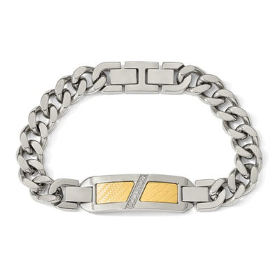 CHISEL Mens Stainless Steel With 18k Gold Accent 0.1ct Diamond Bracelet
