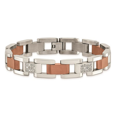 CHISEL Stainless Steel Brown With Diamonds Bracelet