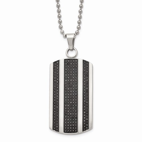 Chisel Men's Black Diamond Necklace Tag 1ctw