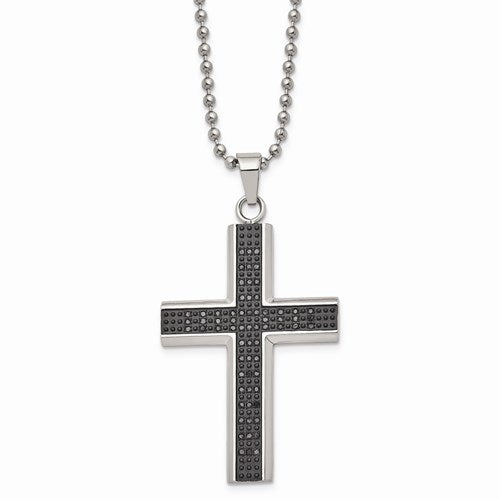 Stainless Steel Polished Black Rhodium Black Diamond Cross Necklace .50ctw