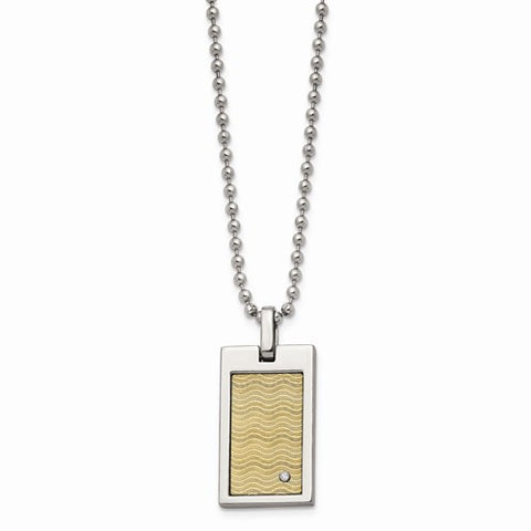 Stainless Steel 18k Gold-Pl With .01ct. Diamond 24in Necklace
