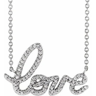 14K Gold LOVE Diamond Necklace