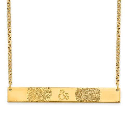 14k Gold Bar Two Fingerprint Necklace