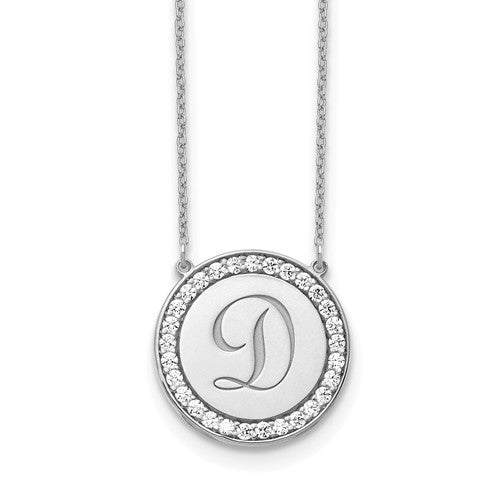 14k White Gold Personalized Initial Diamond Necklace 0.56ctw