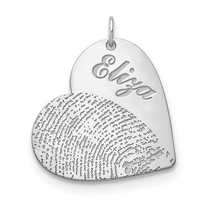 14k White Gold Fingerprint Heart Necklace