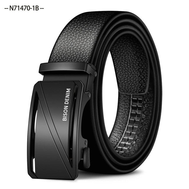 BISON DENIM Belt Men Top Quality Genuine Luxury First Layer Leather Belts for Men Strap Male Alloy Automatic Buckle N71468