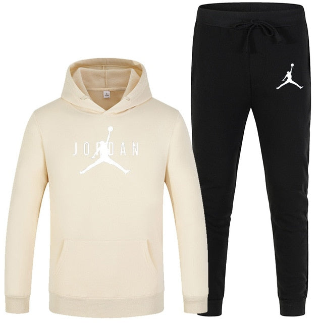 23 JORDAN Autumn winter Hot Sale Men's Sets Hoodie+pants 2 Pieces Sets Casual Tracksuit Male Sportswear Gyms Fitness Sweatpants