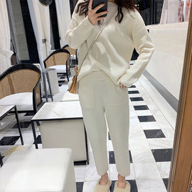 Cashmere Knitted Women's Sweater Pants Suit Autumn Ankle-length Sports Suits Female 2019 Fashion Batwing Sleeve 2 Piece Sets