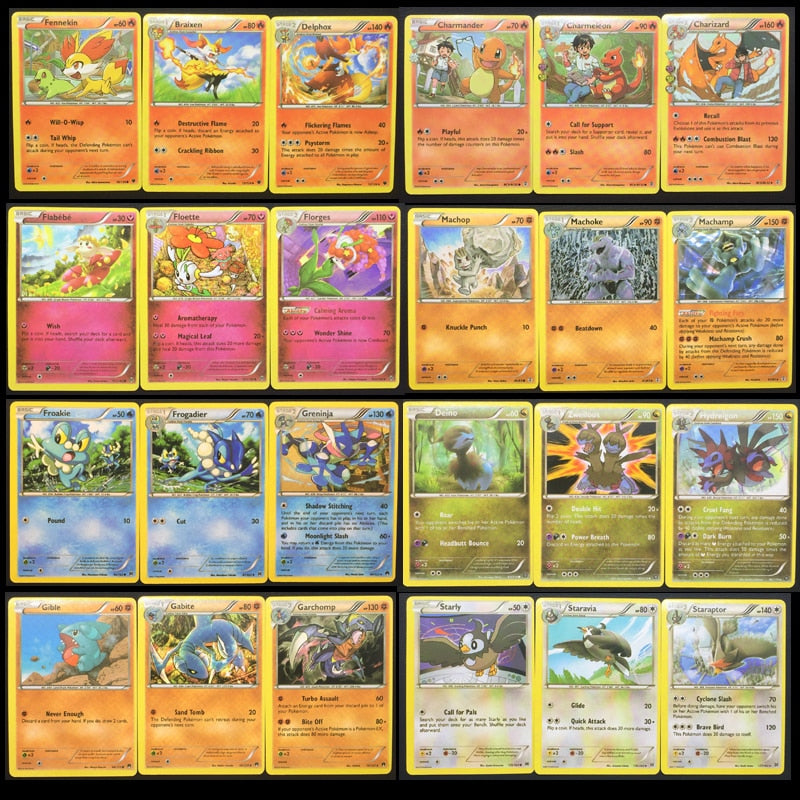 100PCS Pokemon Different Cards 25 50 75 100 No Repeat MEGA Flash Card EX Game Collection Cards Gifts for Children