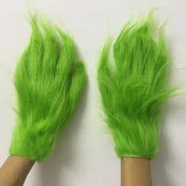 Funny Grinch Stole Christmas Wool Cosplay Glove XMAS Costume Props for Kids Adult Gloves