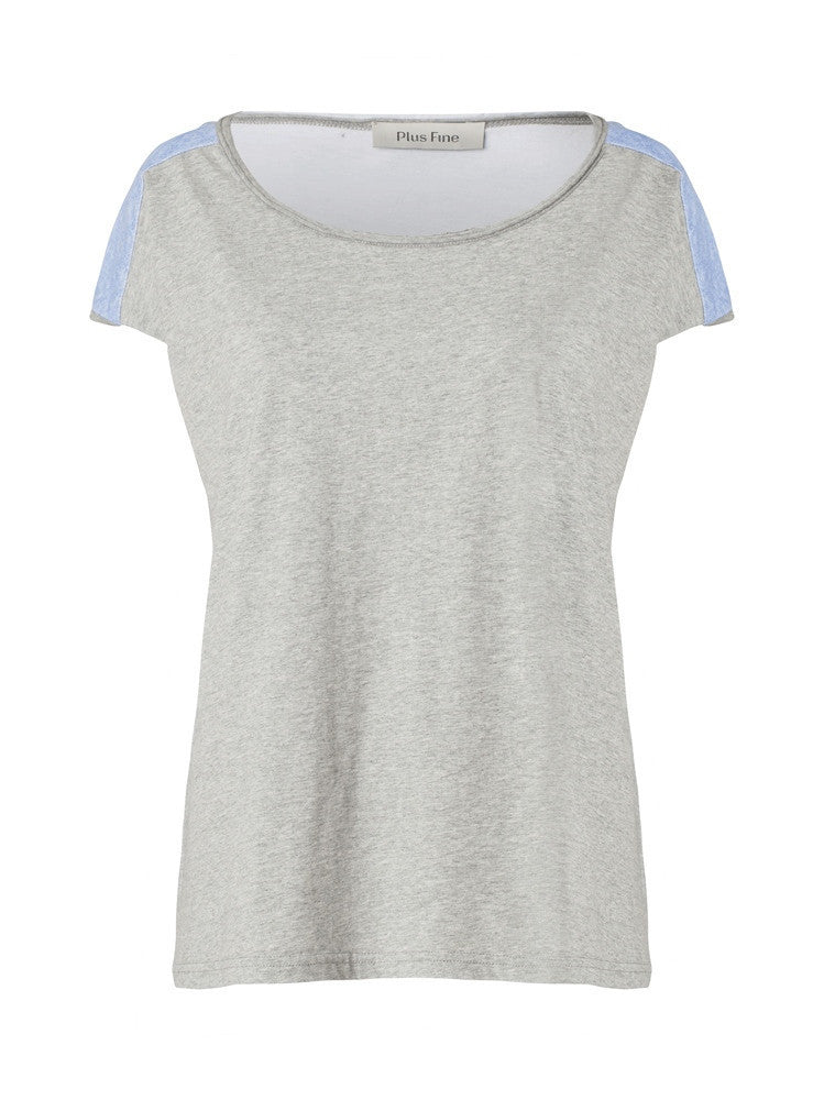 Plus Fine Teil Loose Fit T-Shirt Grey / Blue