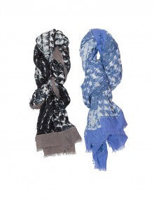 Plus Fine Napoli Long & Wide Cotton Scarf Blue / White Multi