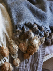 Love Layers Cosy Home Luxury Fur & Wool Mix Pom Pom Throw Grey