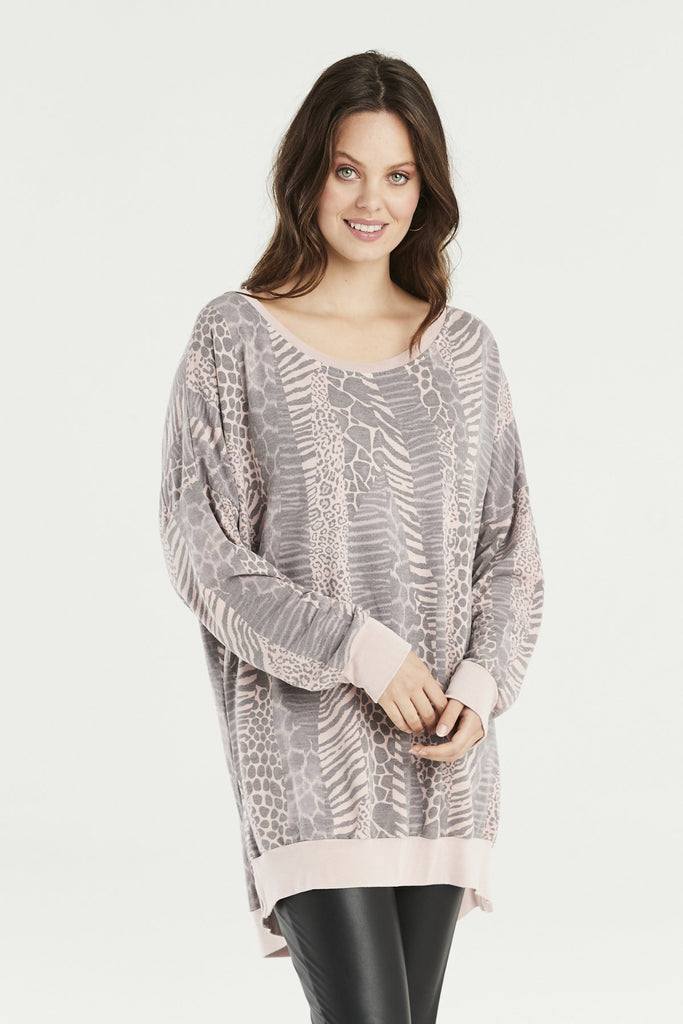 A Postcard From Brighton Amy Animal Print Sweat Dusky Pink