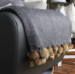 Love Layers Cosy Home Luxury Wool & Fur Mix Pom Pom Cushion Cover Grey