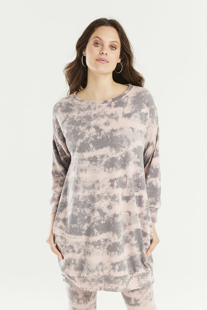 A Postcard From Brighton Gabbi Longline Cloud Print Sweat Pink