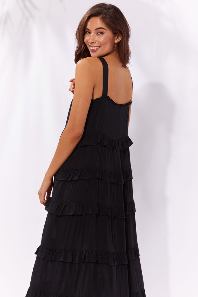 Haven Havana Frill Maxi Dress Black