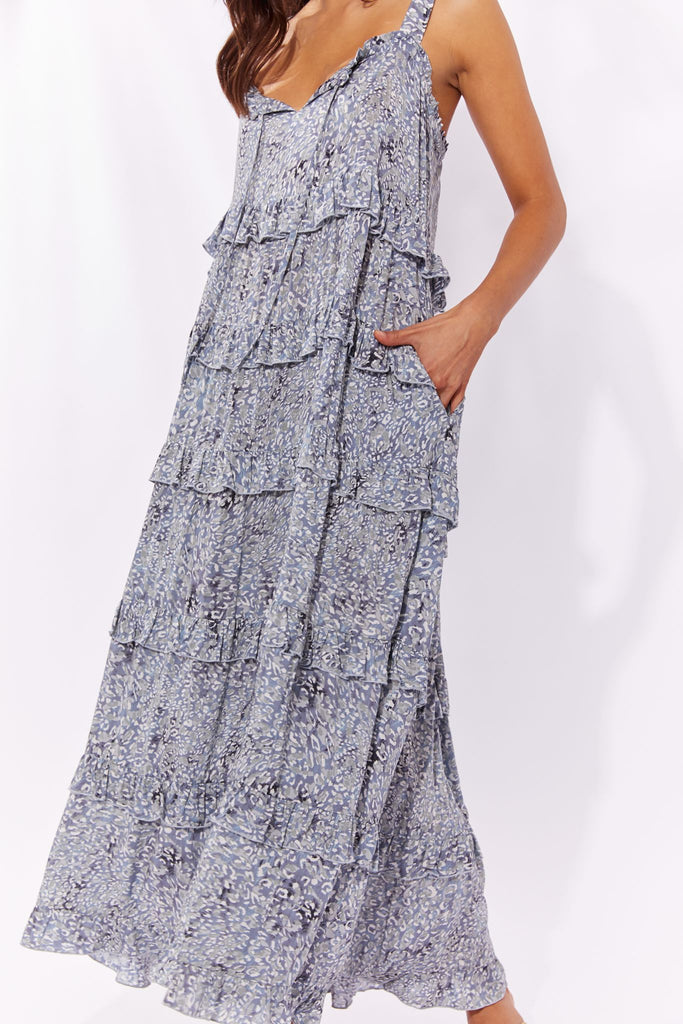 Haven Havana Frill Maxi Dress Blue