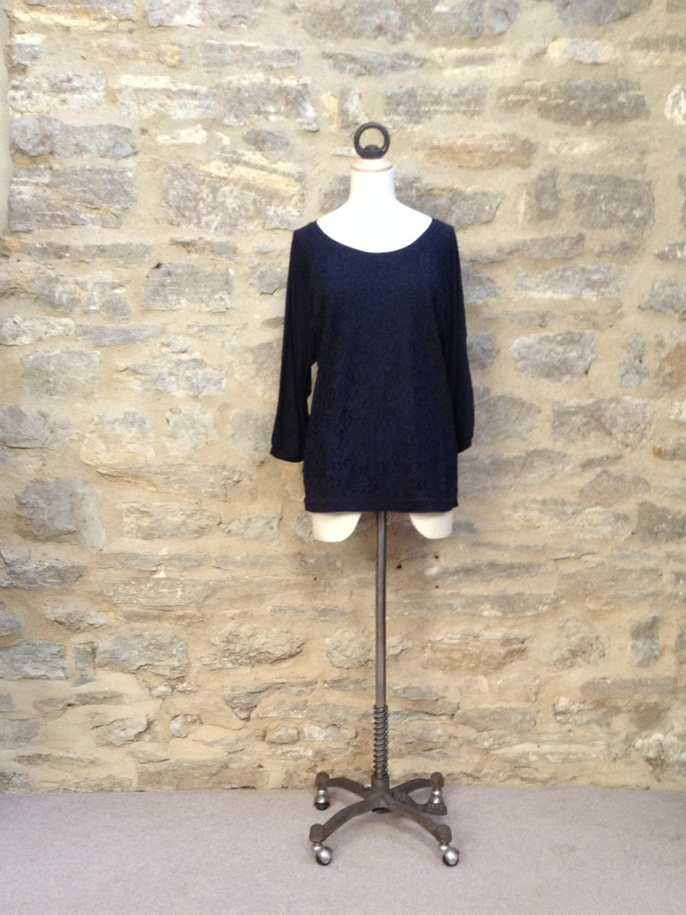 Great Plains Olivia Lace Raglan Top Navy