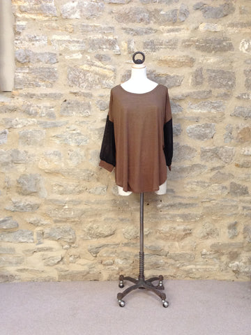 Great Plains Lana Jersey Chiffon Sleeve Top Brown